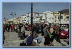 Samos Town - Many people on the promenade.