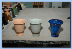 Pythagoras cup in 3 version, first burn, raw and finished.