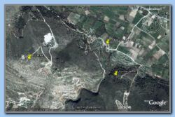From Google Earth: The old church in Agiades, Tunnel north entry and the fortification area marked.