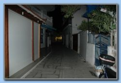 Kokkari by night shopping street closed and empty at 9 pm